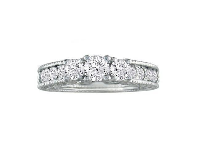 1/2ct Antique Model Three Diamond Plus Ring in White Gold