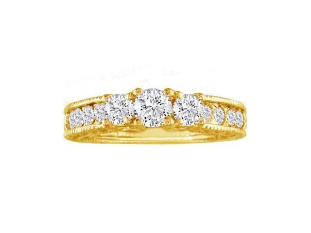 1/2ct Antique Model Three Diamond Plus Ring in Yellow Gold