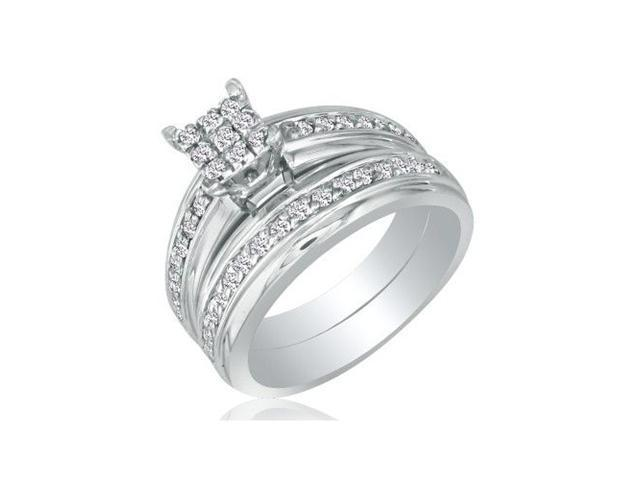 1/2ct Princess Shaped Head Diamond Bridal Set in 10k White Gold