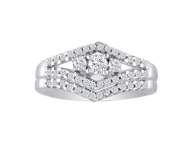 1/2ct Split Shank Three Diamond Plus Bridal Set in 10k White Gold