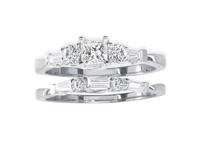 2/3ct Diamond Bridal Set With 1/4ct Center Diamond in 14k White Gold