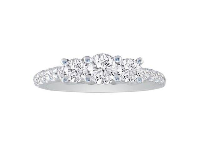 3/4Three Diamond Bridal Set with Diamonds on Band in 14k White Gold