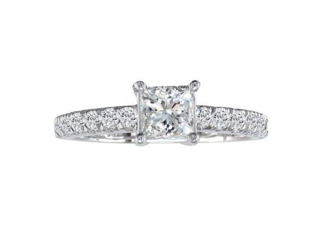 Dainty 14K White Gold 3/4ct Princess Cut Engagement Ring