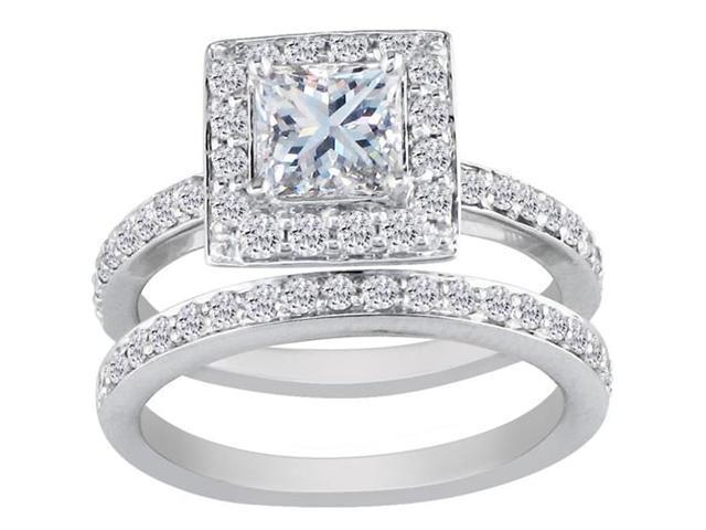 Princess Cut 1ct Micro Pave Diamond Bridal Set in 14k White Gold