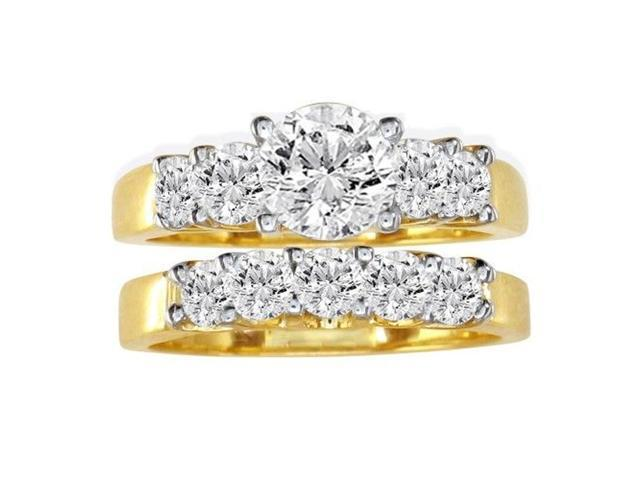 1 1/2ct Diamond Bridal Set, 1/2ct Center Diamond in 14k Yellow Gold