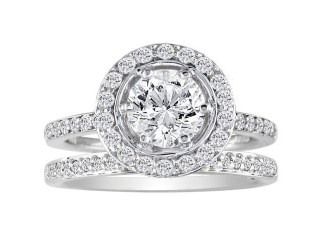 Gorgeous 1 1/2ct Pave Diamond Bridal Set in 14k White Gold