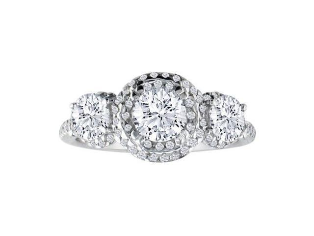 1 1/2ct Micropave Three Diamond Ring in 14K White Gold