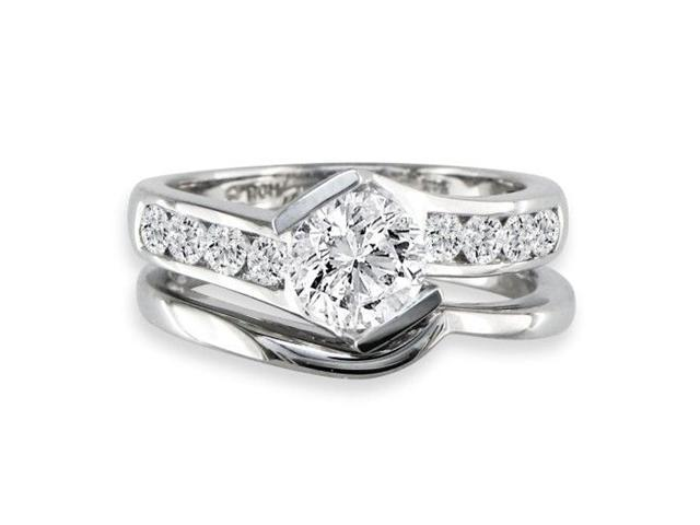Sleek and Modern 1.65ct Diamond Bridal Set in 14k White Gold