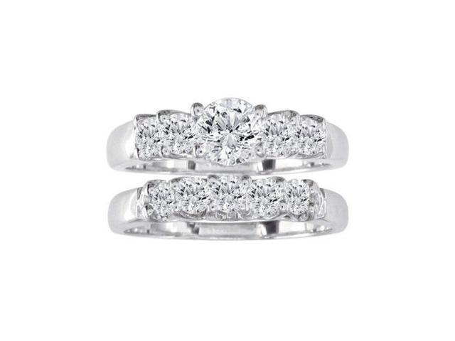 1ct Diamond Bridal Set, 1/4ct Center Diamond in 14k White Gold