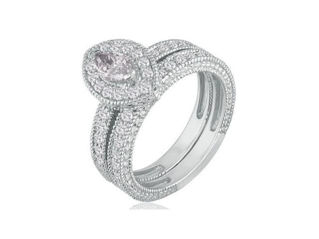1ct Marquise Diamond Bridal Set in 14k White Gold