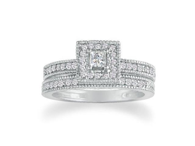 1ct Princess Diamond Bridal Set in 14k White Gold