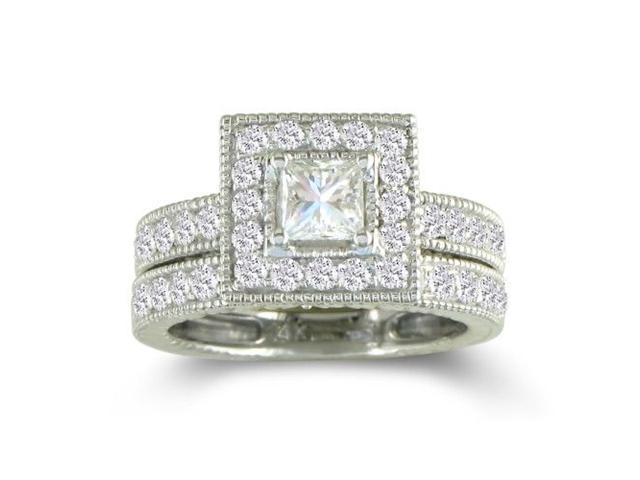 1 1/2ct Princess Diamond Bridal Set in 14k White Gold