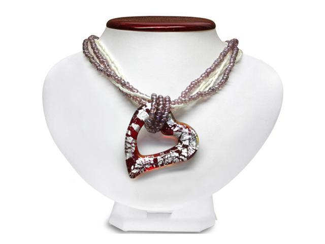 Brown and White Murano Glass Heart Shaped Pendant