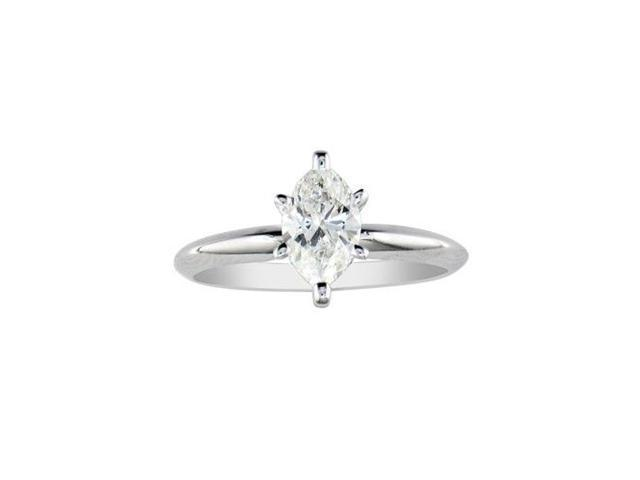 1/2ct Marquise Diamond Solitaire Ring in 14k White Gold