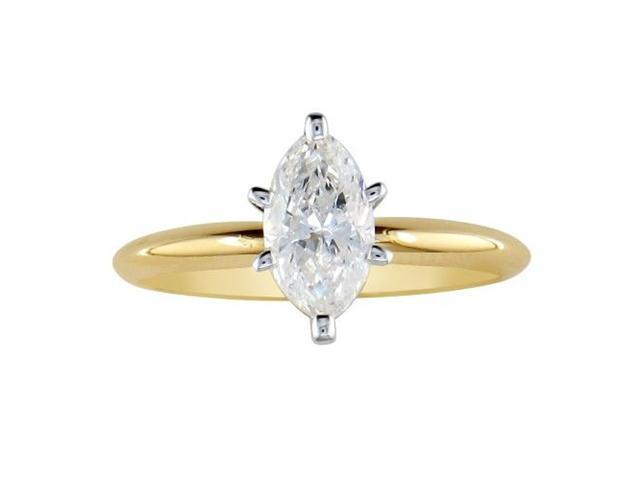 1/2ct Marquise Diamond Solitaire Ring in 14k Yellow Gold