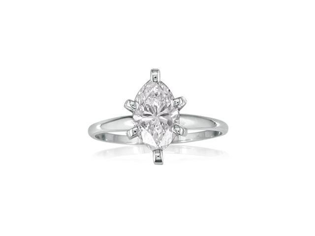 1ct Marquise Diamond Engagement Ring, White Gold