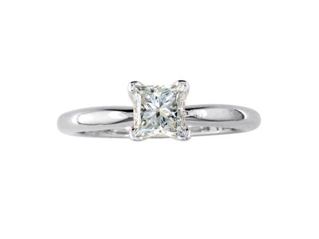 1/4ct Princess Diamond Solitaire Engagement Ring in 14kWG, I/J, I1