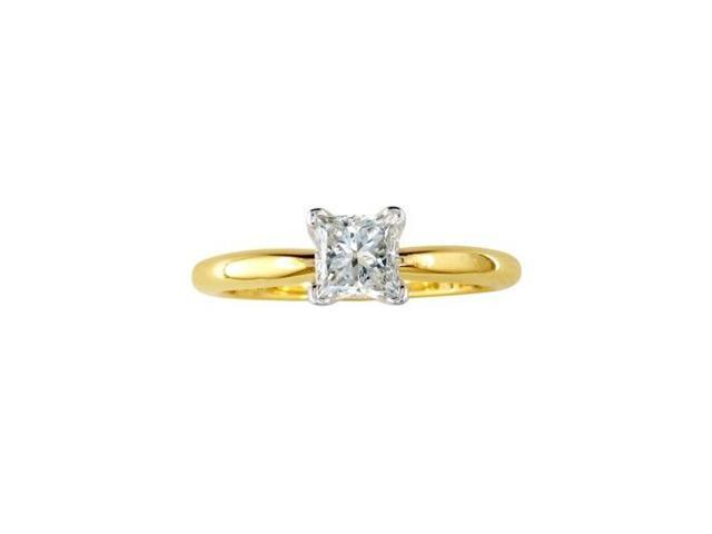 1/2ct Princess Diamond Solitaire Engagement Ring in 14k G/H, SI1/SI2