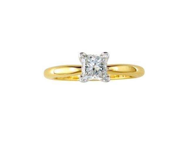 3/4ct Princess Diamond Engagement Ring in 14k Yellow G/H/I SI1/2