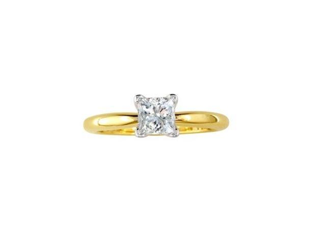 3/4ct Princess Cut Diamond Engagement Ring in 14k Yellow Gold.