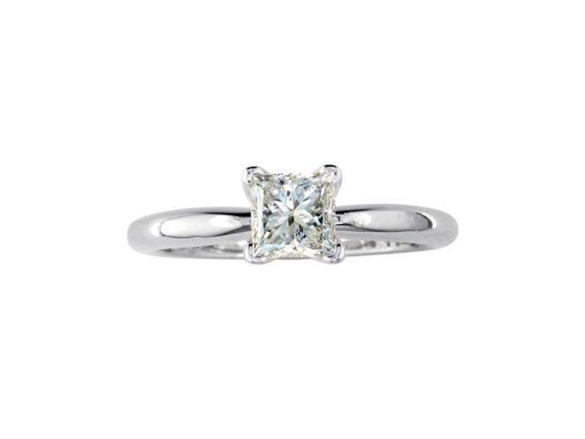 1ct Princess Diamond Solitaire Engagement Ring in 14k White Gold. SI1