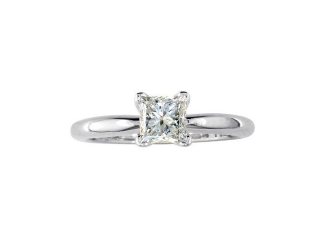 1ct Princess Diamond Solitaire Engagement Ring in 14k White Gold
