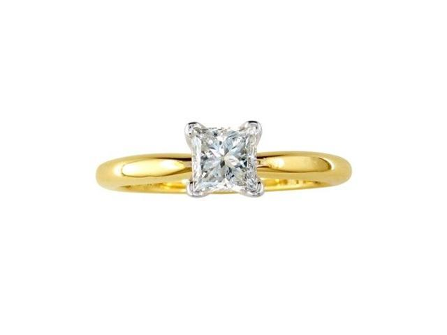 1ct Princess Diamond Solitaire Engagement Ring in 14k Yellow Gold