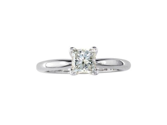 1ct Princess Cut Solitaire Ring, 14K White Gold, J/K SI2/I1. Closeout