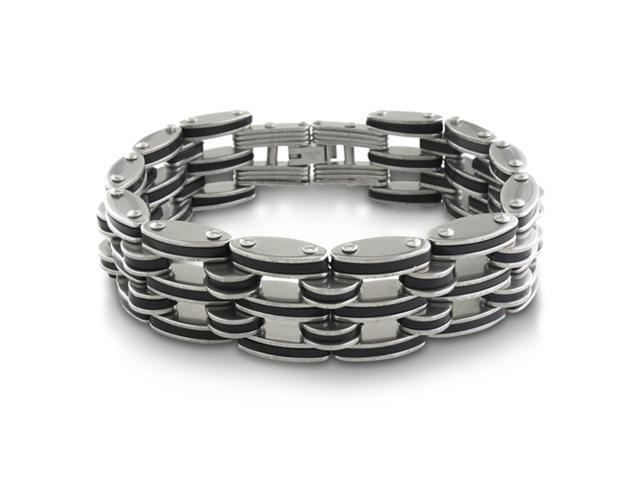 Huge Men's Stainless Steel and Black Rubber Bracelet