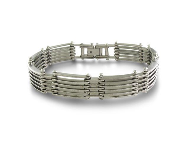8 Inch Riveted Link Men's Stainless Steel Bracelet