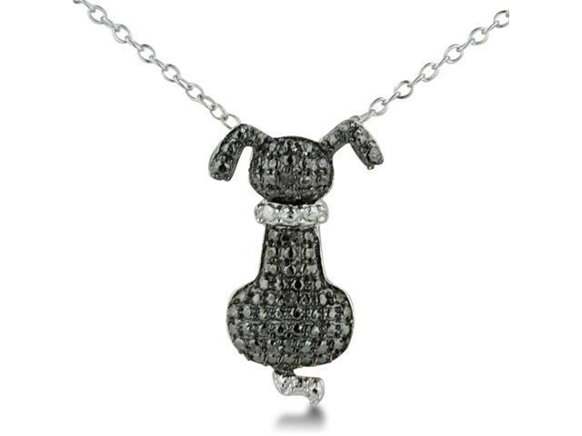 Adorable Black Diamond Dog Necklace in Sterling Silver