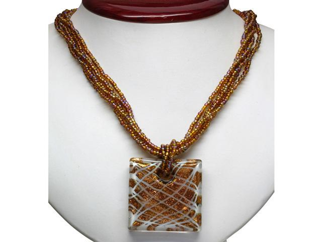 Brown, Red, and White Murano Glass Square Pendant on Crystal Necklace