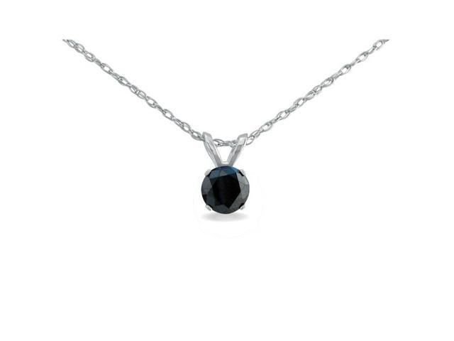 1/4ct Black Diamond Solitaire Pendant in 10k White Gold