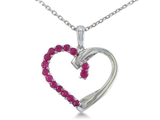 SuperJeweler H021143 RU SS 1/2ct Ruby Heart Pendant in Sterling Silver