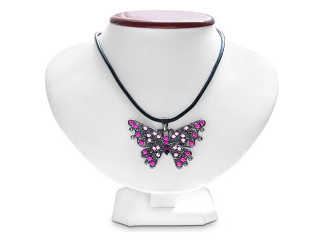 Swarovski Crystal Pink and Purple Butterfly Pendant On Black Leather Cord