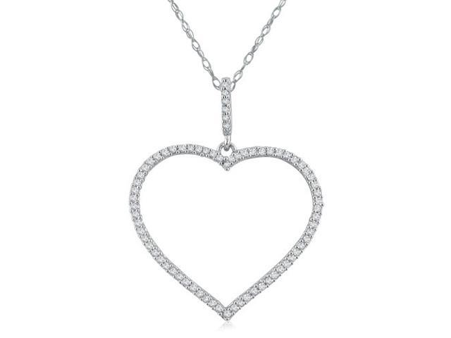 1/3ct tw Diamond Heart Pendant in Sterling Silver on an 18
