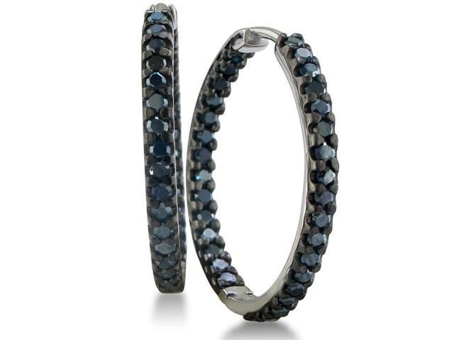1ct Inside Out Black Diamond Hoop Earrings in Sterling Silver