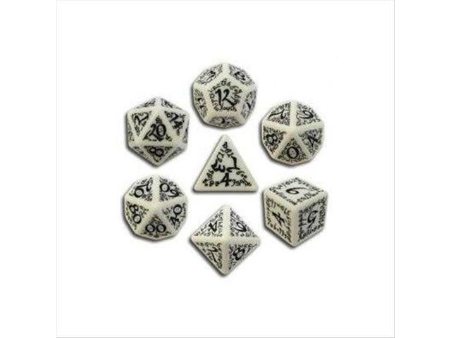 Q-Workshop White & Black Elvish Dice (7)
