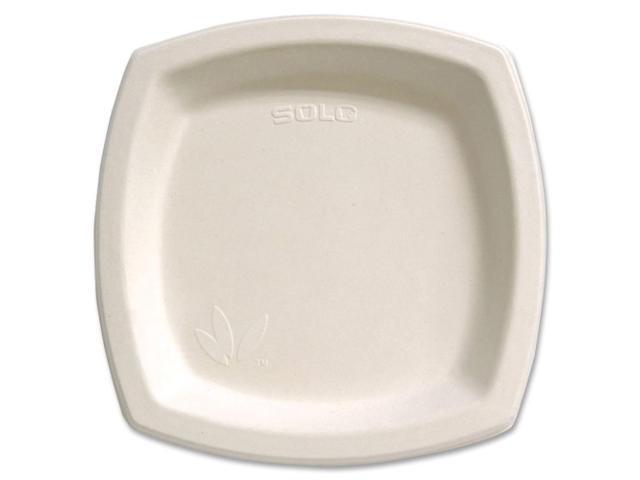 SOLO CUP COMPANY 8PSC2050 Bare Sugar Cane Plate 8.25in 125/BG Off-White