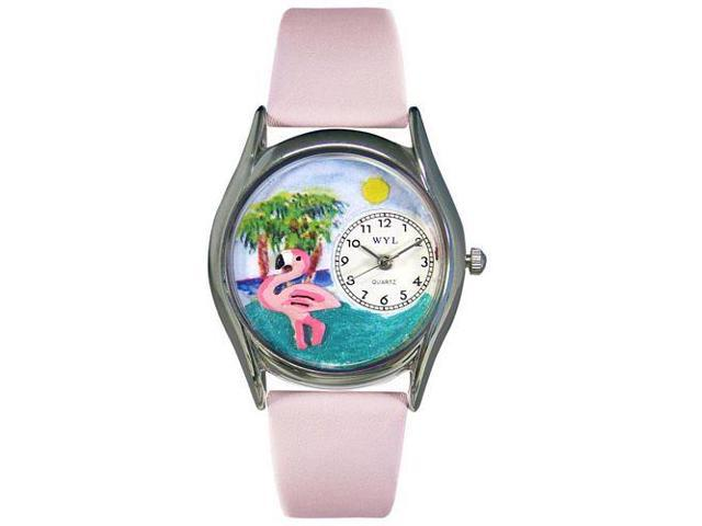 Flamingo Pink Leather And Silvertone Watch #S0150010