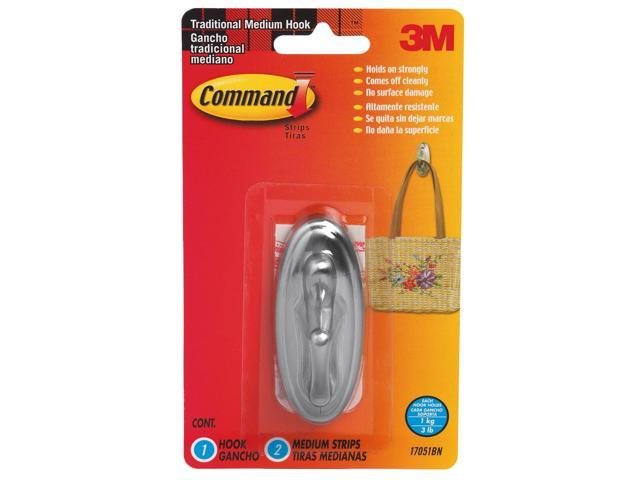 3M 17051BN Command Traditional Brushed Nickel Finish Medium Bath Hook 1 hook, 2 strips