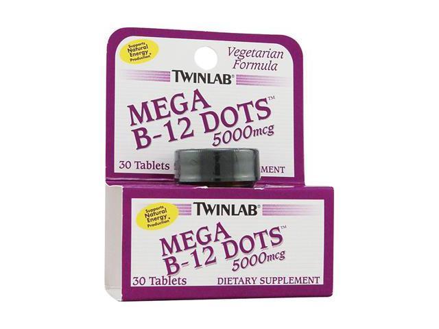 Twin Lab B-12 Mega Dots 5,000mcg Tablets, Vegetarian Formula, 30-Count