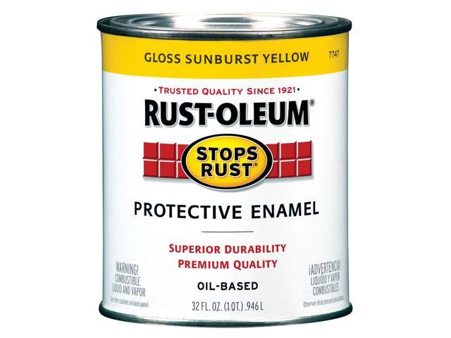 Rustoleum 7747-502 Protective Oil Based Enamel Paint, Sunburst Yellow ...