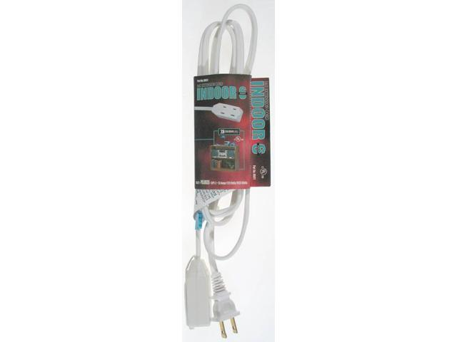 16/2 Spt-2 3-Outlet Cube Tap Extension Cord With Safety Cover, White, 9-Feet