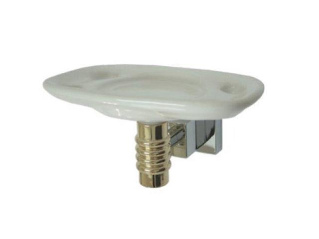 ROUND TOOTHBRUSH HOLDER WITH CERAMIC TUMBLER-Chrome / Polished Brass Finish