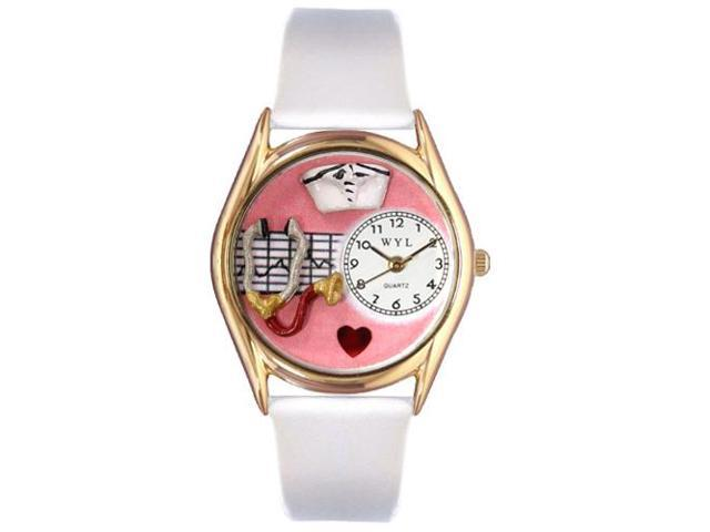 Nurse Red White Leather And Goldtone Watch #C0610030