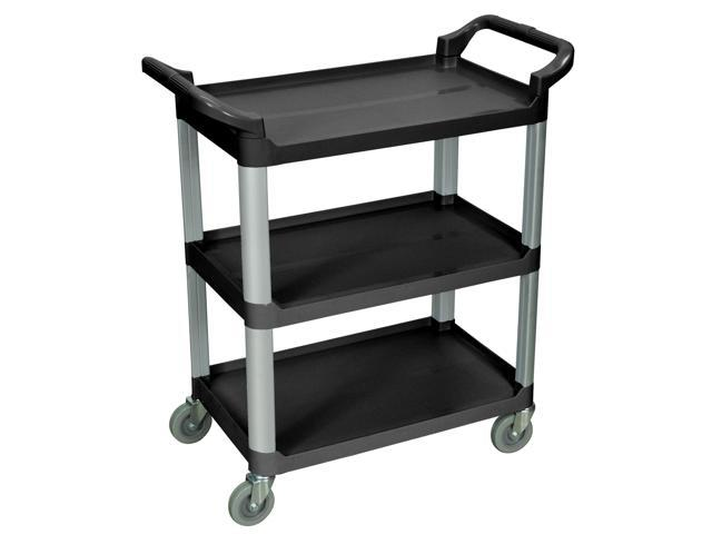 Luxor SC12-B Black 3 Shelf Serving Cart