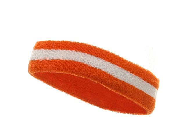 Terry Stripe Headband-Orange White (W15S28C)