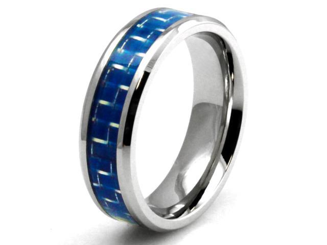 Tioneer R30237-110 Stainless Steel Ring with Blue Carbon Fiber