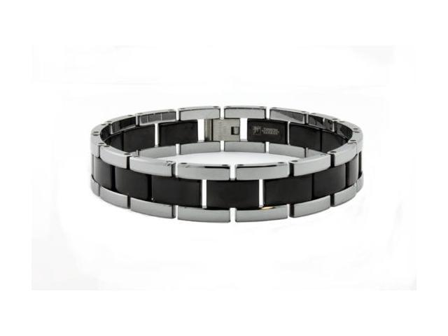 Two Tone Black Tungsten Carbide Men's Bracelet